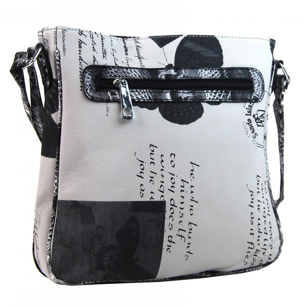 Crossbody dámská kabelka s potiskem 1024 černá