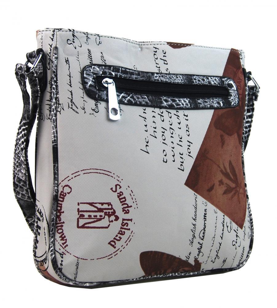 Crossbody dámská kabelka s potiskem 1024 hnědá