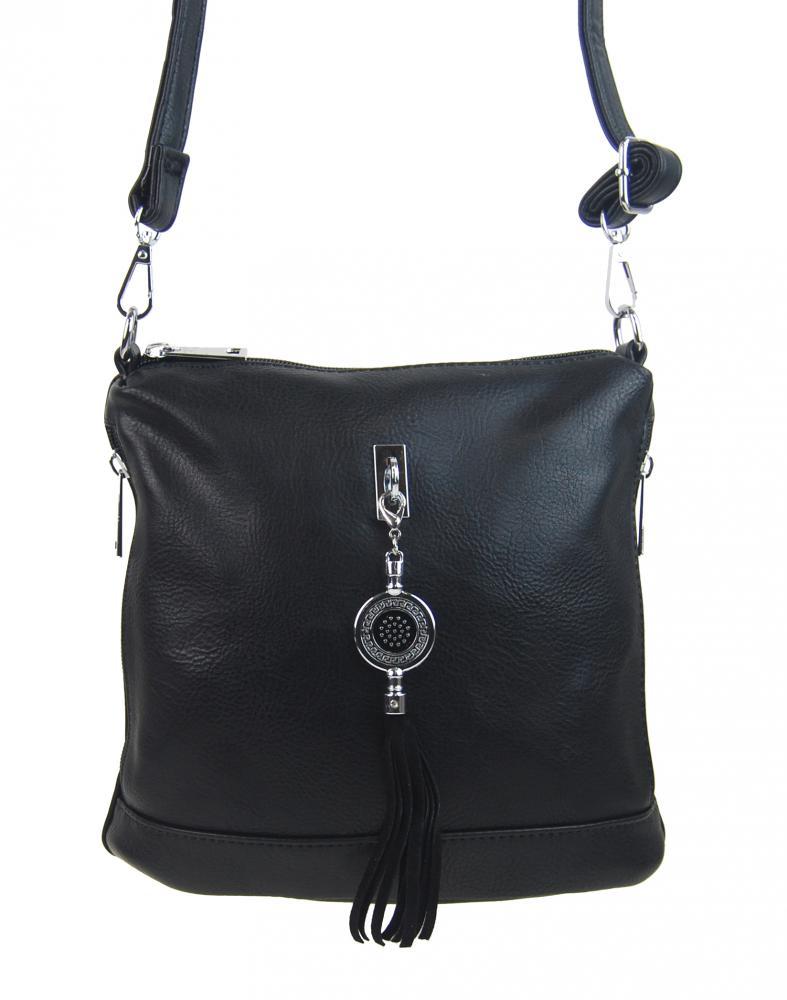 Malá crossbody dámska kabelka s príveskom 1994-BB čierna
