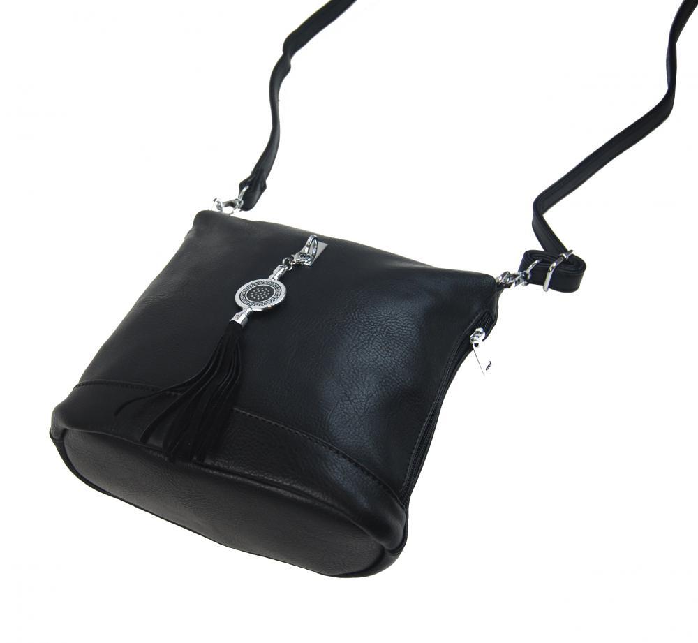 Malá crossbody dámská kabelka s přívěskem 1994-BB černá