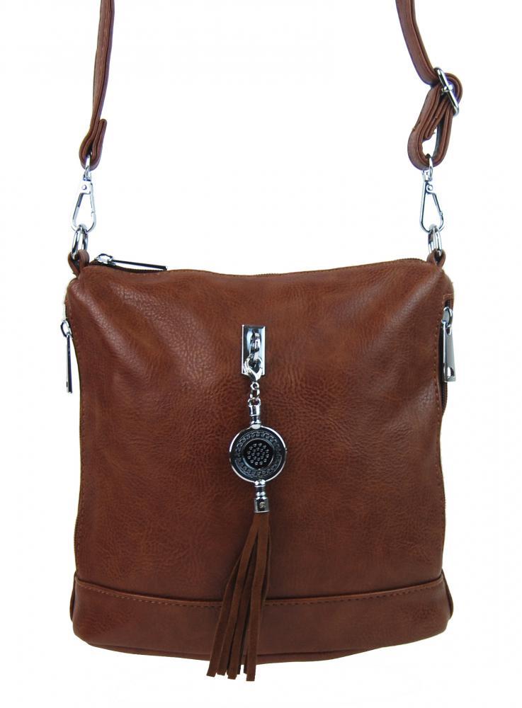 Malá crossbody dámska kabelka s príveskom 1994-BB hnedá