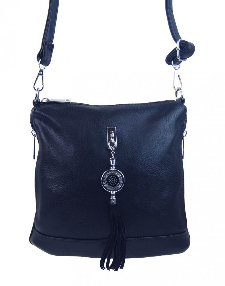 Malá crossbody dámska kabelka s príveskom 1994-BB tmavo modrá