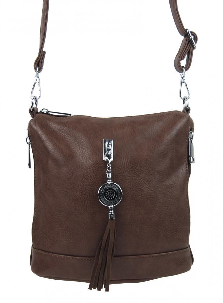 Malá crossbody dámská kabelka s přívěskem 1994-BB přírodní hnědá