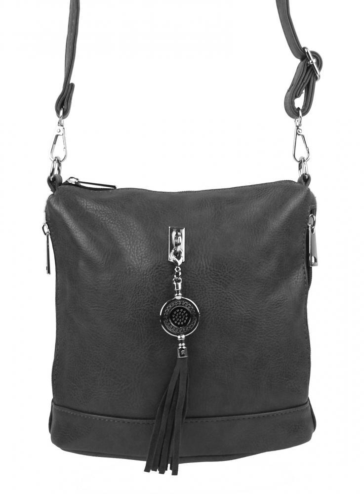 Malá crossbody dámska kabelka s príveskom 1994-BB tmavo sivá