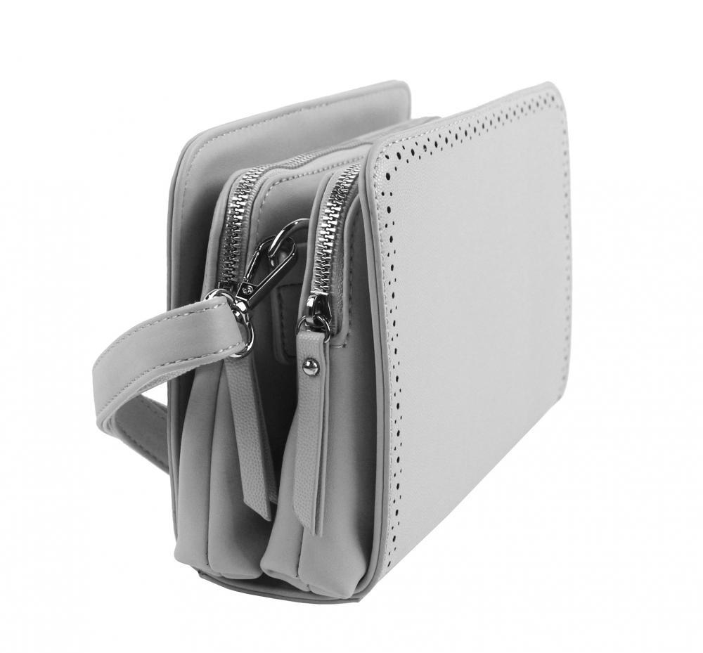 Svetlo sivá crossbody dámska kabelka s dvoma oddielmi BELLA BELLY