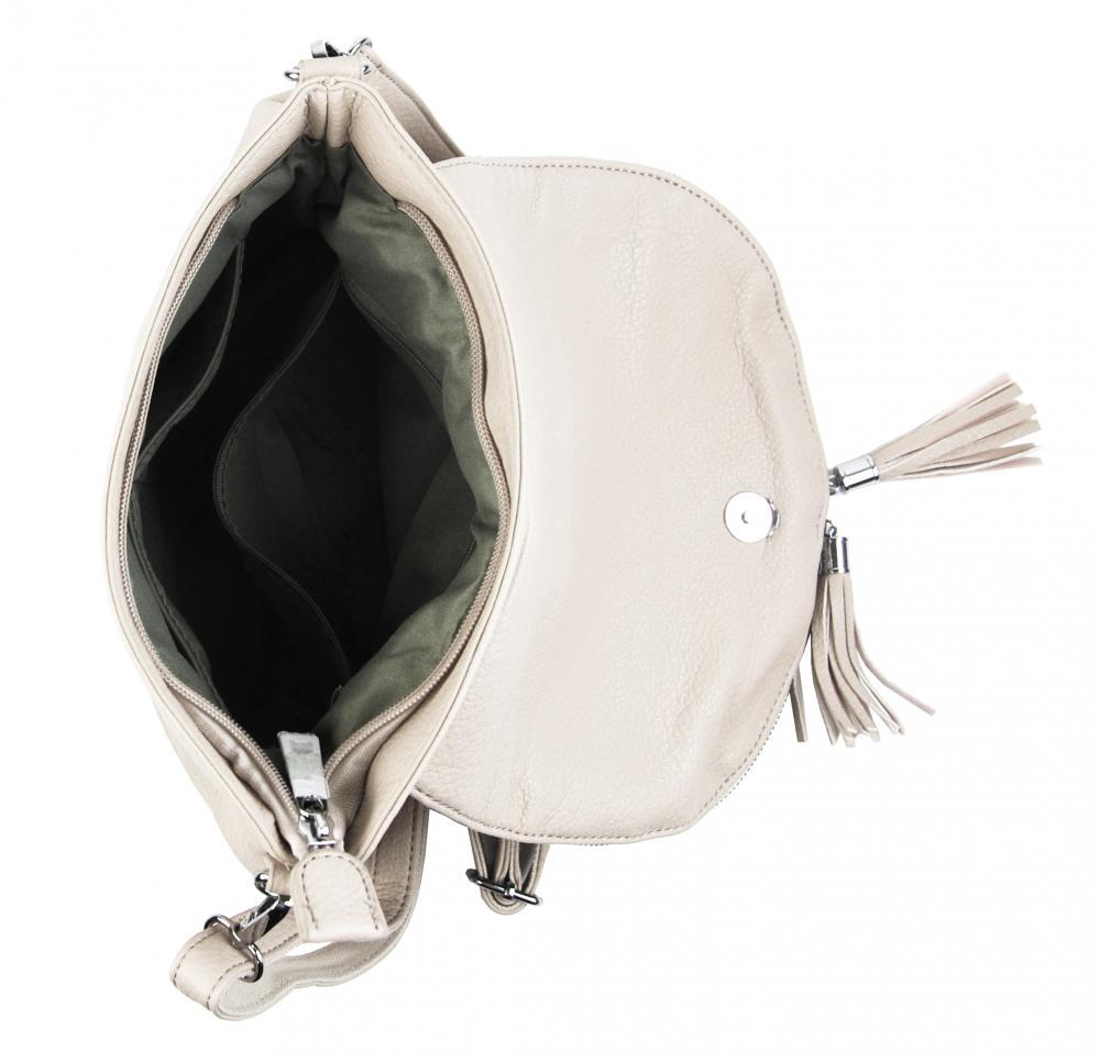 Světlá krémová crossbody dámská kabelka s magnetem 5458-BB