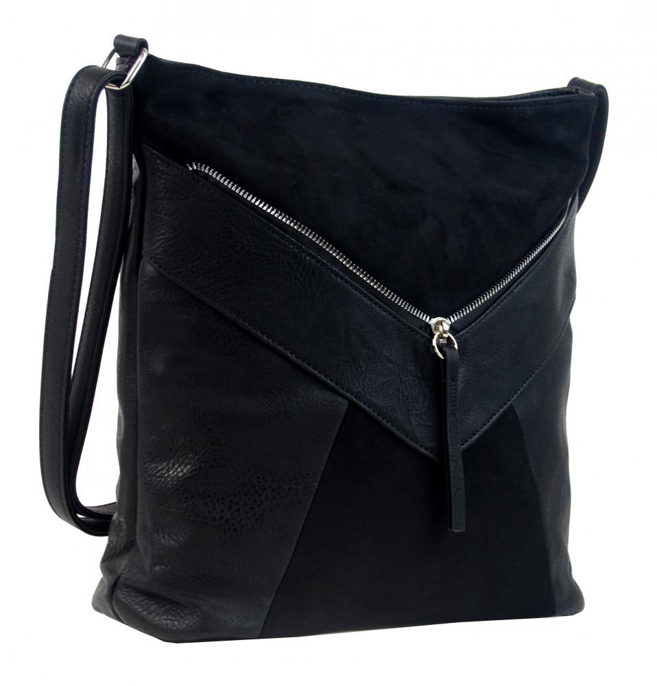 Čierna dámska crossbody kabelka so semišom H17418