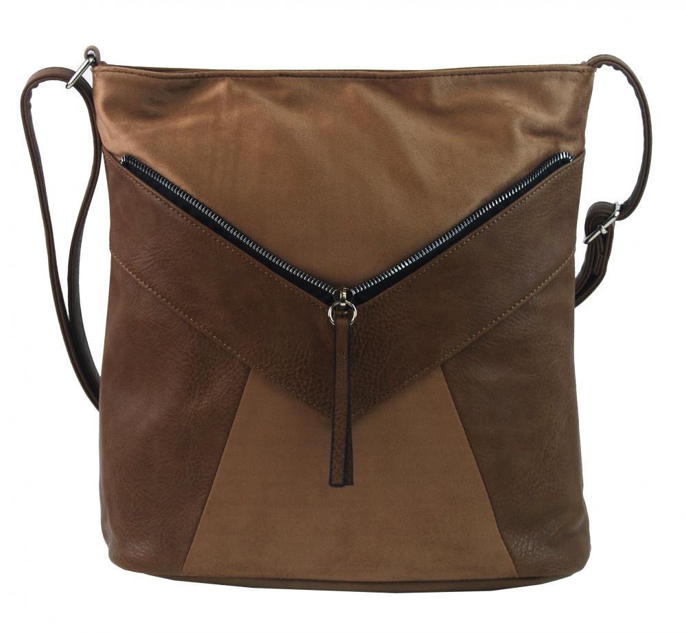 Ťavia hnedá dámska crossbody kabelka so semišom H17418