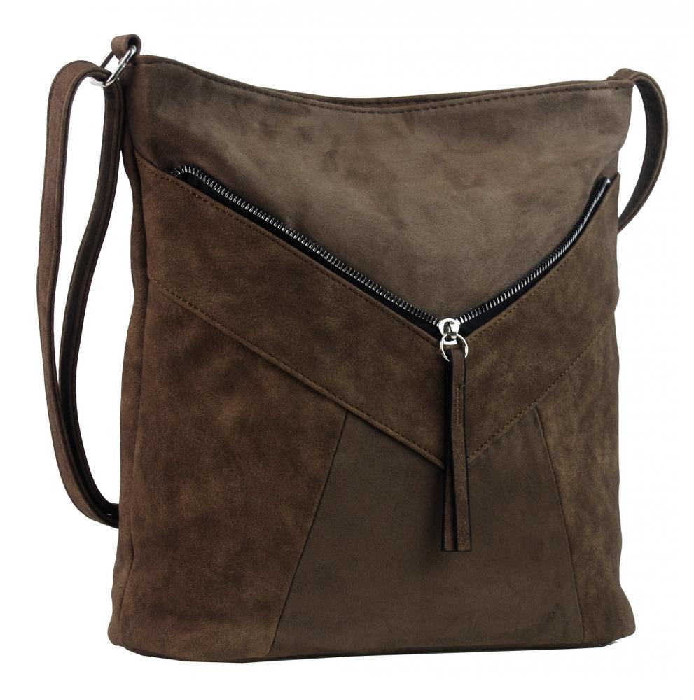 Šedohnědá dámská crossbody kabelka se semišem H17418