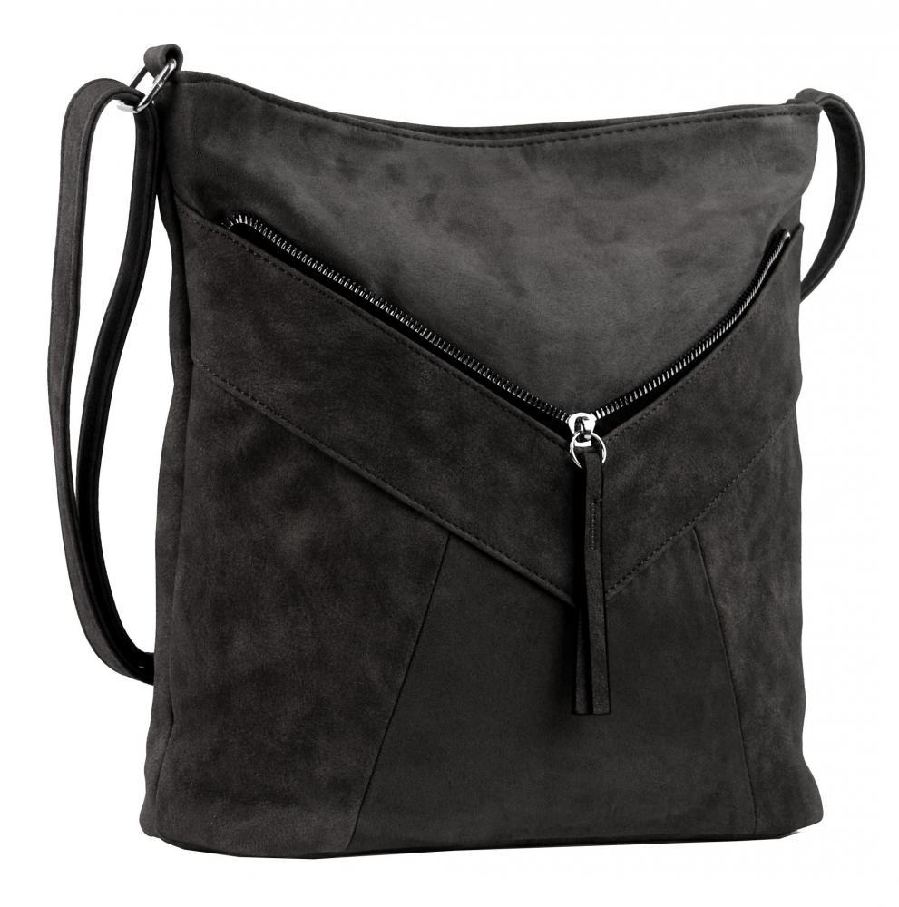 Tmavě šedá dámská crossbody kabelka se semišem H17418