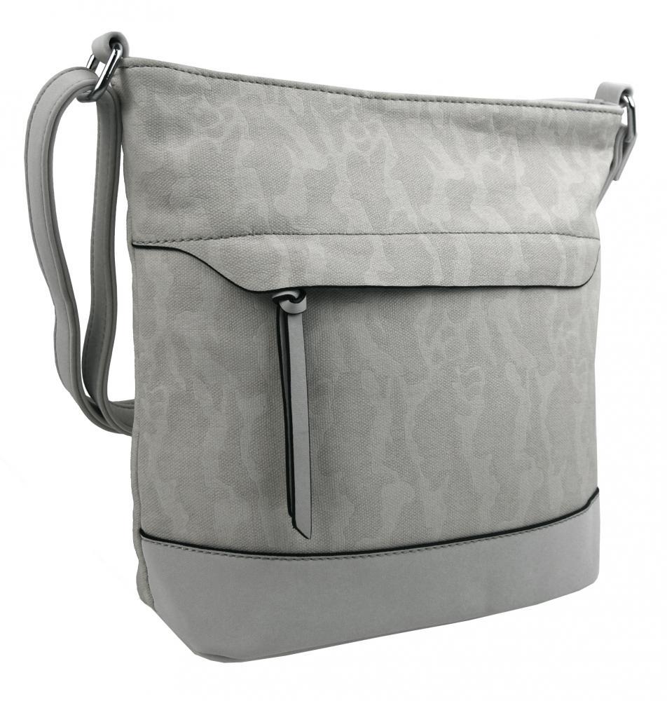 Crossbody kabelka s čelní zipovou přihrádkou HB062 šedá