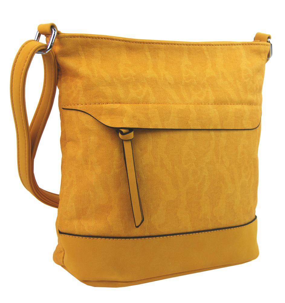 Crossbody kabelka s čelnou zipsovou priehradkou HB062 banánová žltá