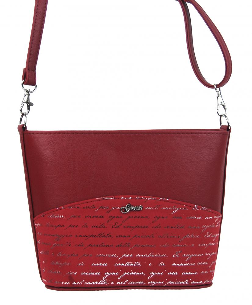 Malá červená crossbody taška se stříbrným písmem M292 GROSSO