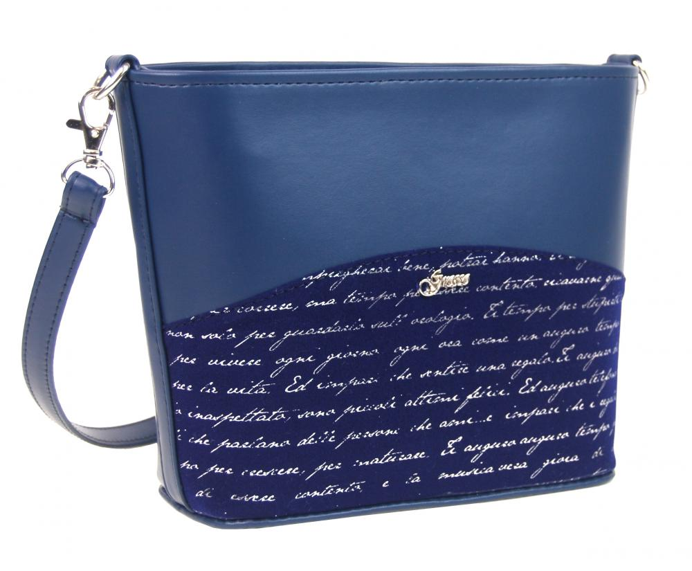 GROSSO M292 Malá crossbody taška so strieborným písmom - modrá