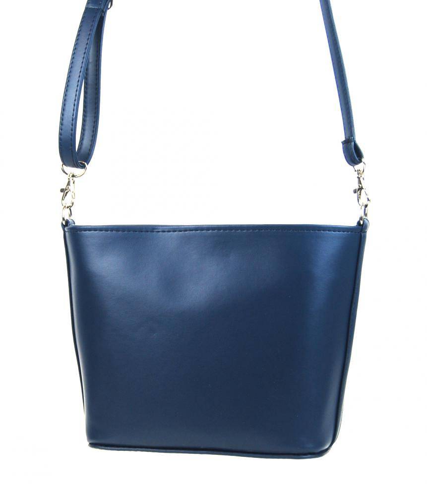 Malá modrá crossbody taška se stříbrným písmem M292 GROSSO