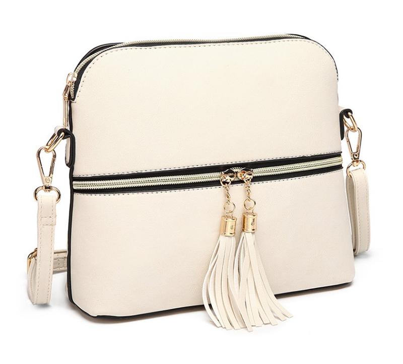 Miss Lulu LU-LB1938 Malá crossbody kabelka so zlatým zipsom - Béžová