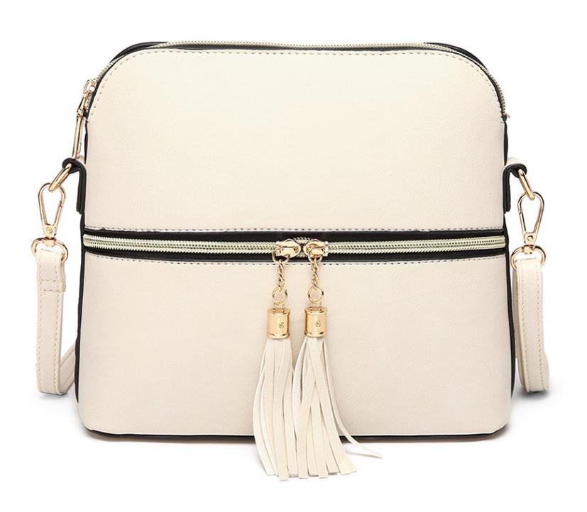 Malá béžová crossbody kabelka so zlatým zipsom MISS LULU