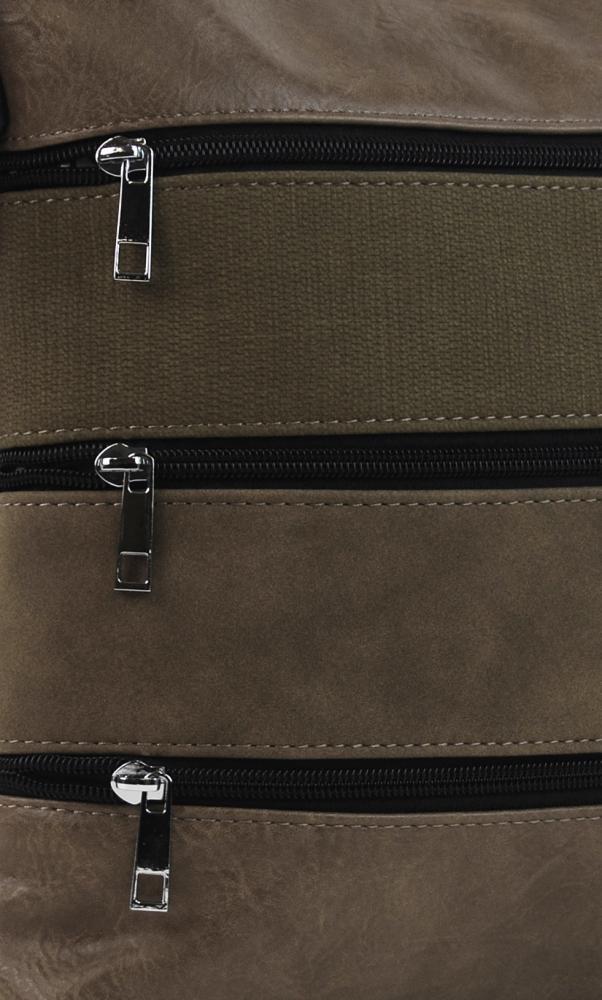 Jílově hnědá dámská crossbody kabelka s čelními kapsami NH6014