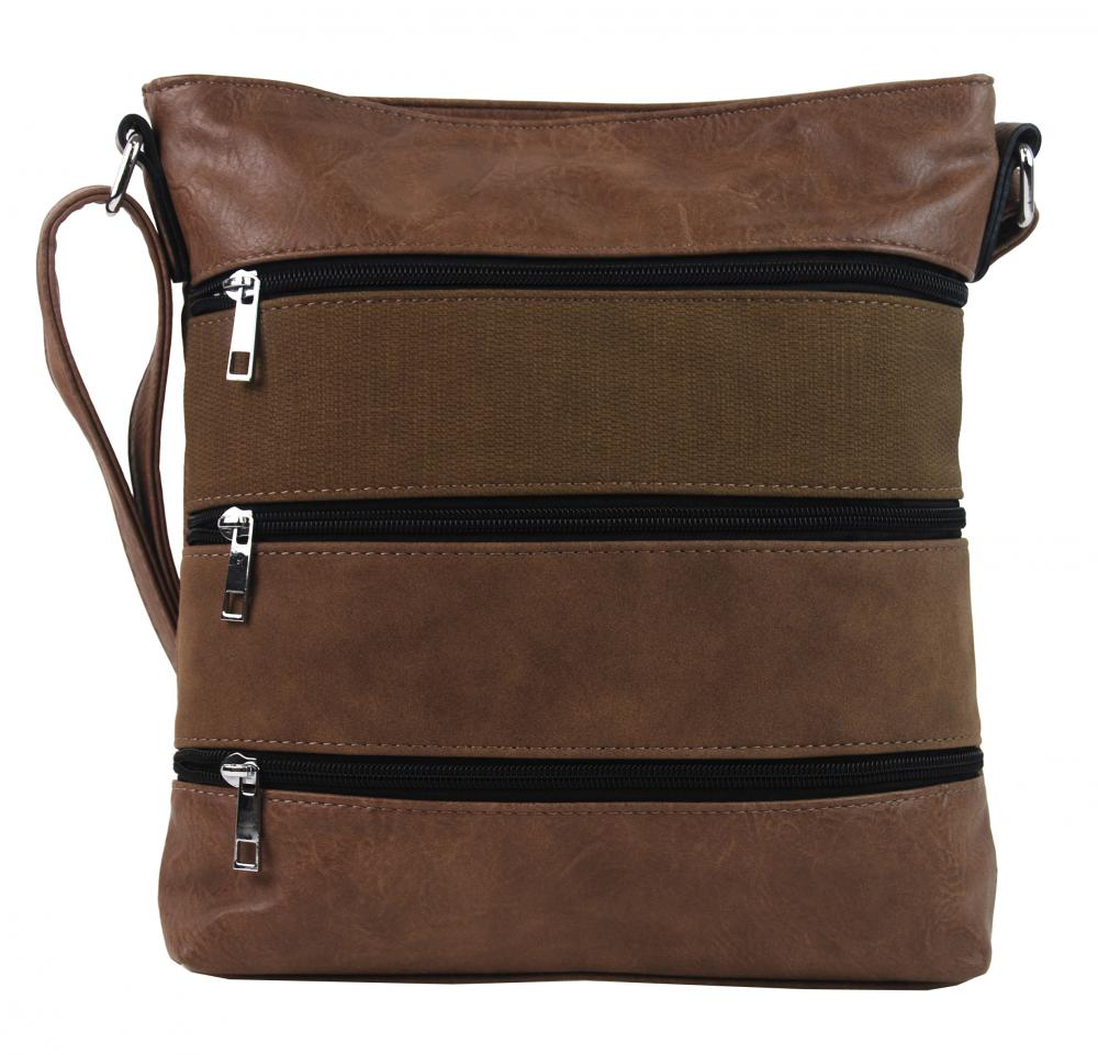 Prírodne hnedá dámska crossbody kabelka s čelnými vreckami NH6014