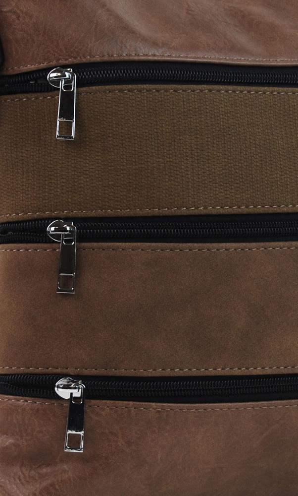 Přírodně hnědá dámská crossbody kabelka s čelními kapsami NH6014