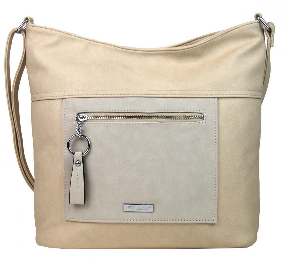Velká béžová crossbody dámská kabelka s čelní kapsou NH8047