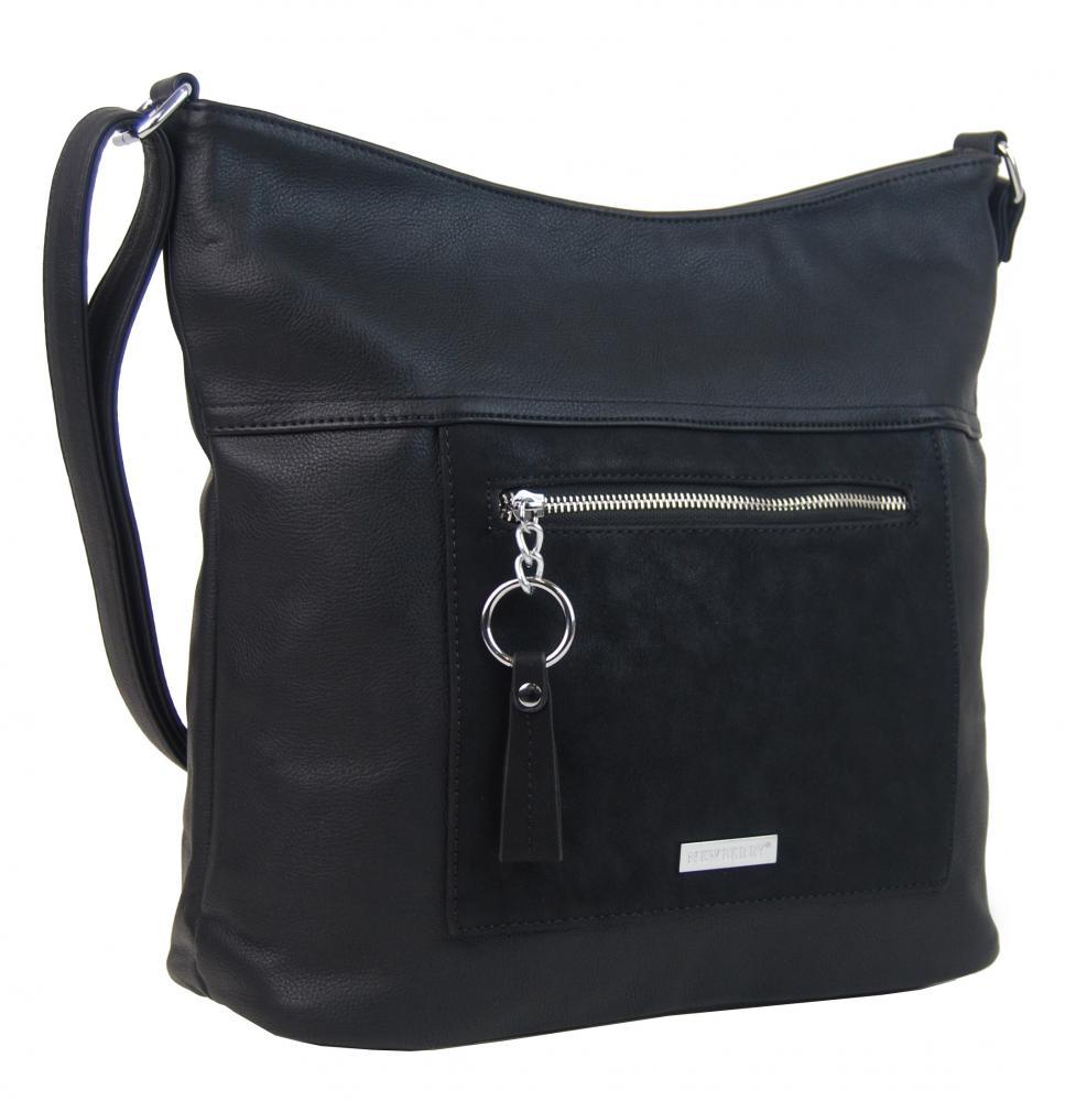 09603fccc2 Veľká čierna crossbody dámska kabelka s čelným vreckom NH8047 ...