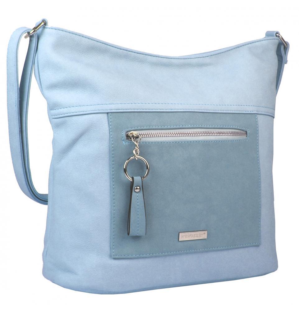 141aafa4b9a Velká světle modrá crossbody dámská kabelka s čelní kapsou NH8047