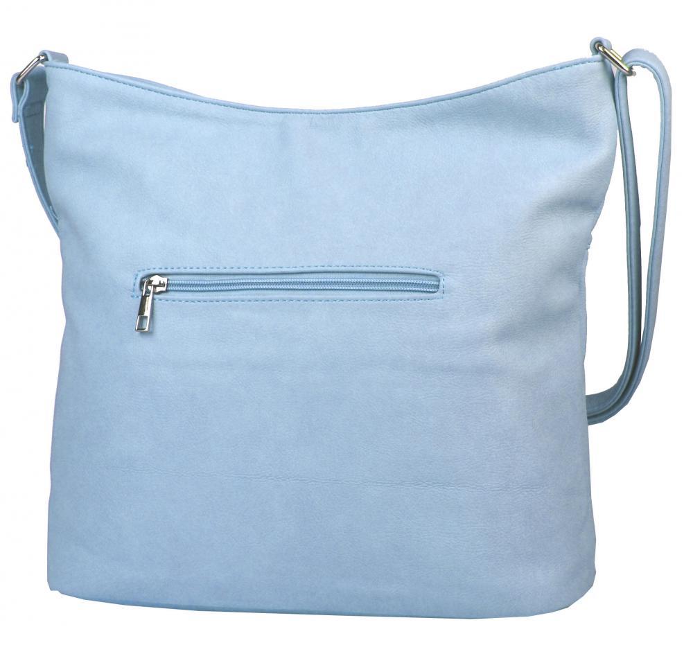 Velká světle modrá crossbody dámská kabelka s čelní kapsou NH8047