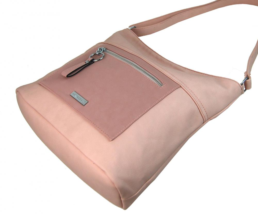 Velká růžová crossbody dámská kabelka s čelní kapsou NH8047