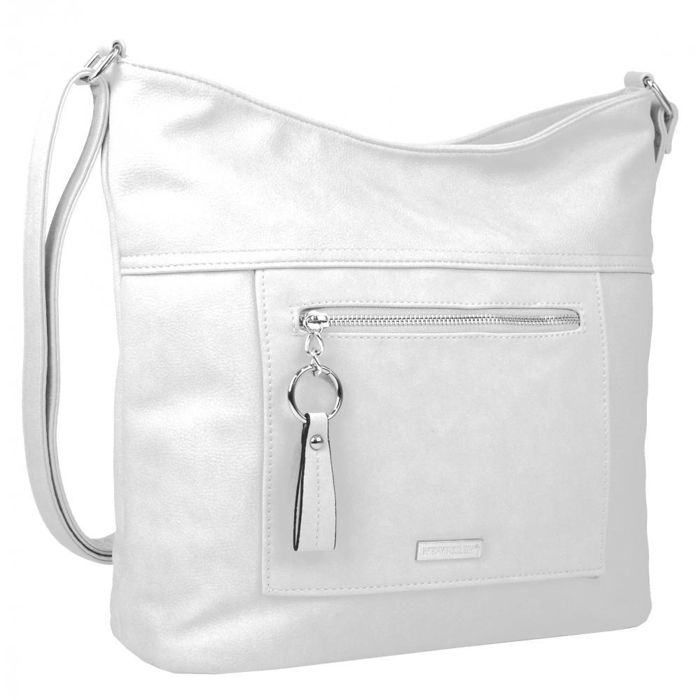 Veľká biela crossbody dámska kabelka s čelným vreckom NH8047