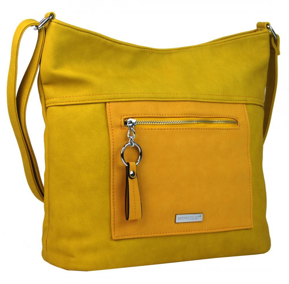 Velká banánově žlutá crossbody dámská kabelka s čelní kapsou NH8047