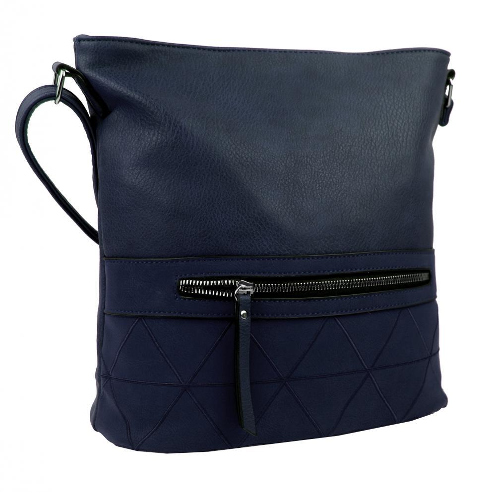 Větší crossbody dámská kabelka modrá s čelní kapsou NH8101