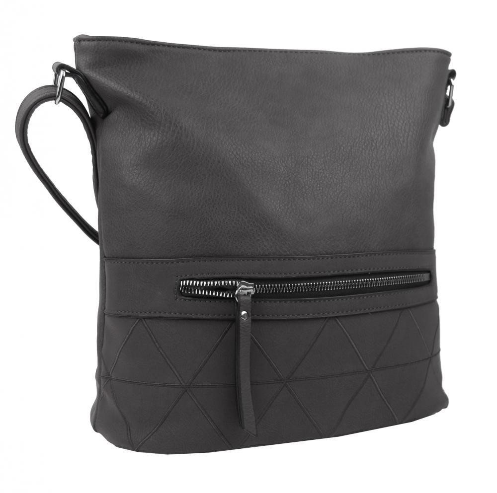 Väčšia crossbody dámska kabelka tmavo sivá s čelným vreckom NH8101