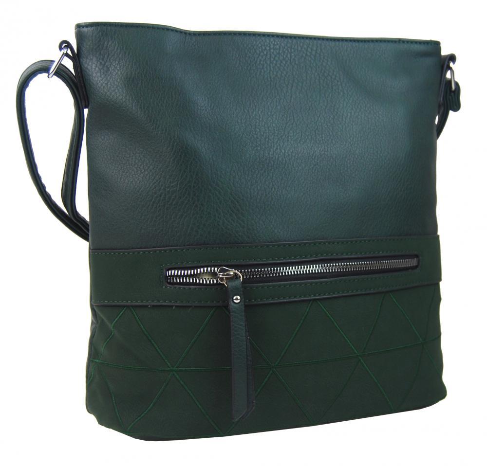 Väčšia crossbody dámska kabelka zelená s čelným vreckom NH8101