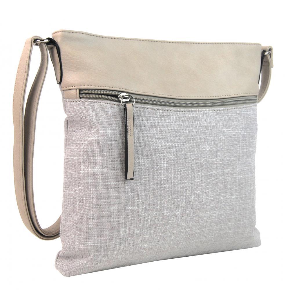 Béžová dámská textilní crossbody kabelka H16175