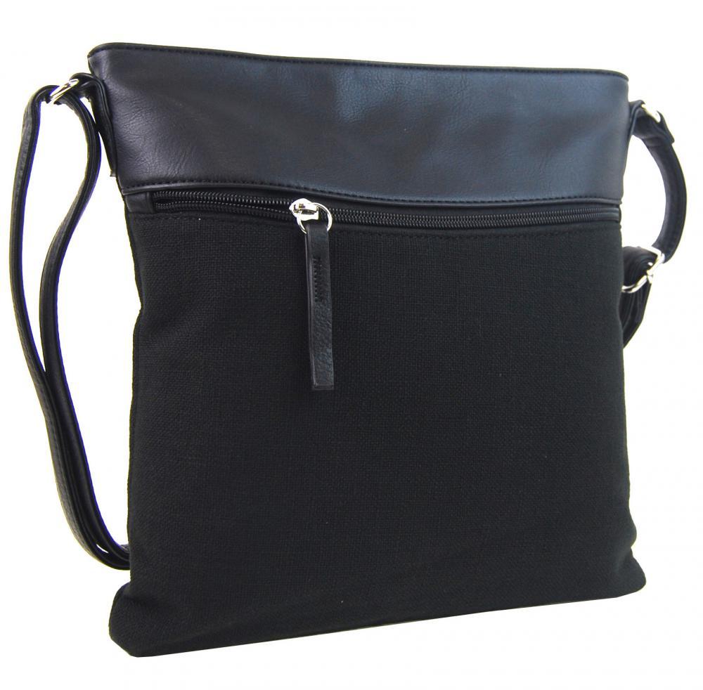 Černá dámská textilní crossbody kabelka H16175