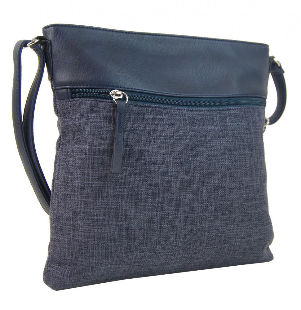 Modrá dámska textilná crossbody kabelka H16175