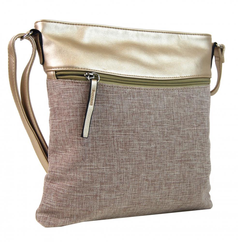 Zlatá dámska textilná crossbody kabelka H16175