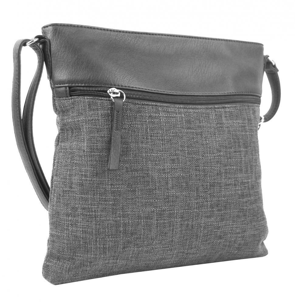 Sivá dámska textilná crossbody kabelka H16175