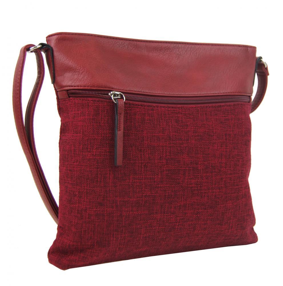 Červená dámská textilní crossbody kabelka H16175