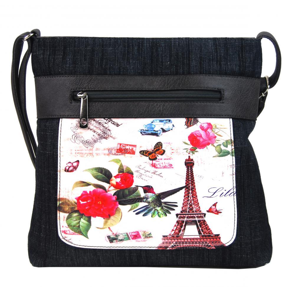 TAPPLE Dámská kabelka crossbody z černé džínoviny