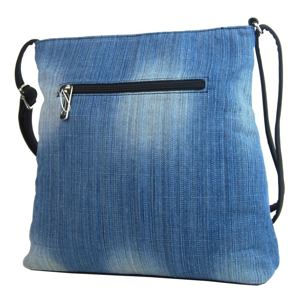 Riflová modrá dámska crossbody kabelka s čiernymi doplnkami H1725
