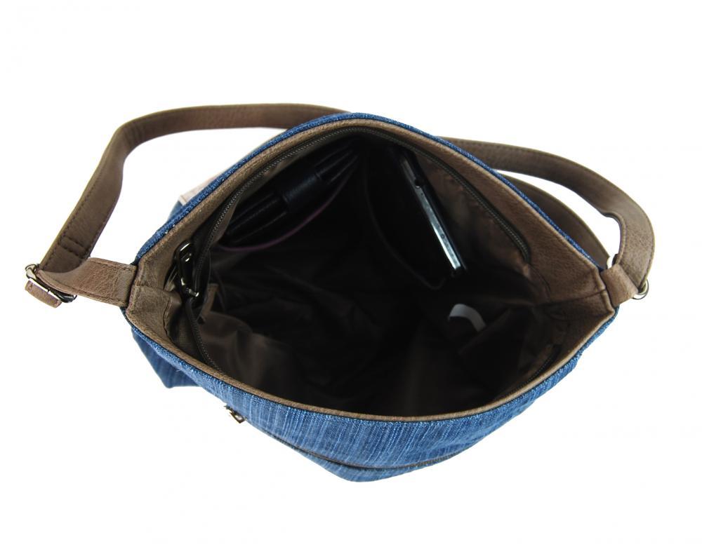 d7512b6168 Riflová modrá dámská crossbody kabelka s hnědošedými doplňky H1725 ...