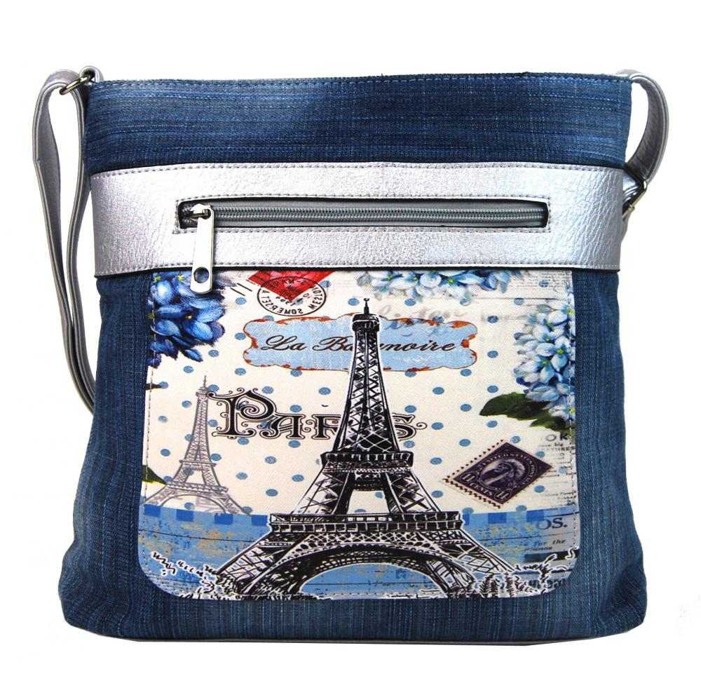 Modrá riflová dámska crossbody kabelka so striebornými doplnkami H1725
