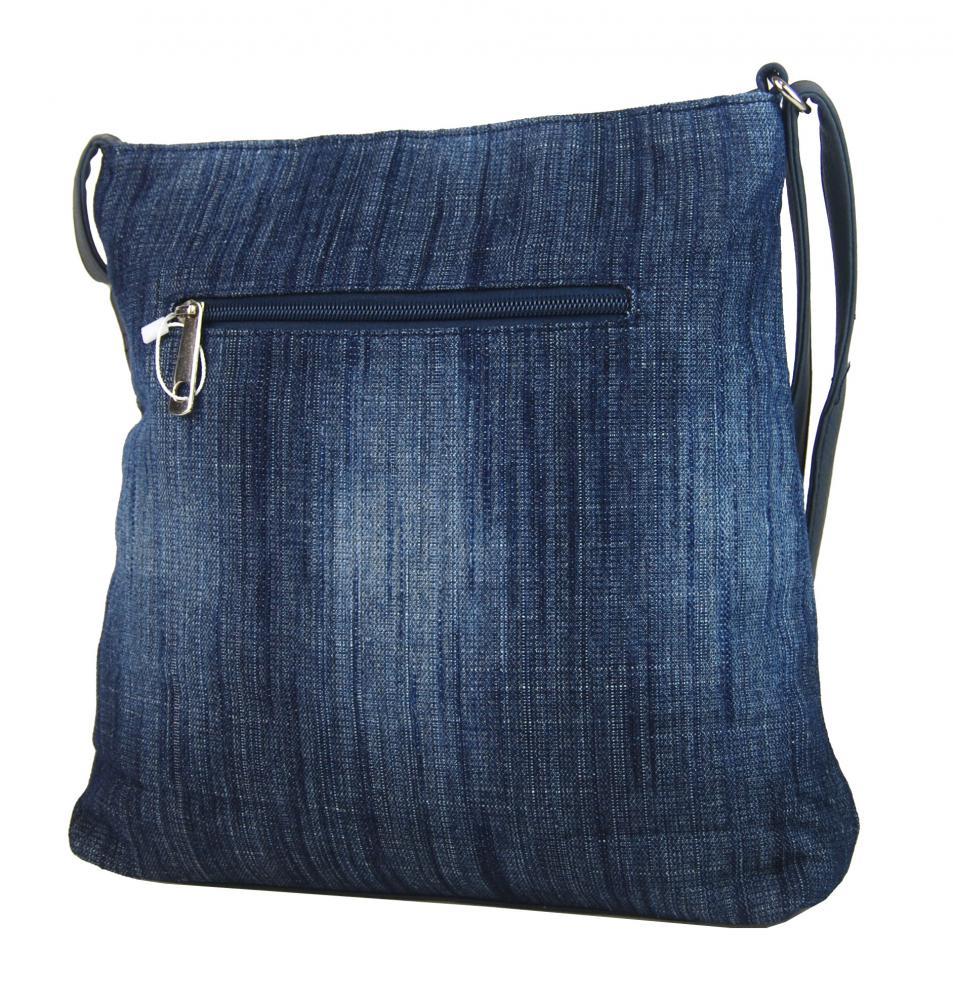 Riflová tmavo modrá dámska crossbody kabelka s hnedosivými doplnkami H1725