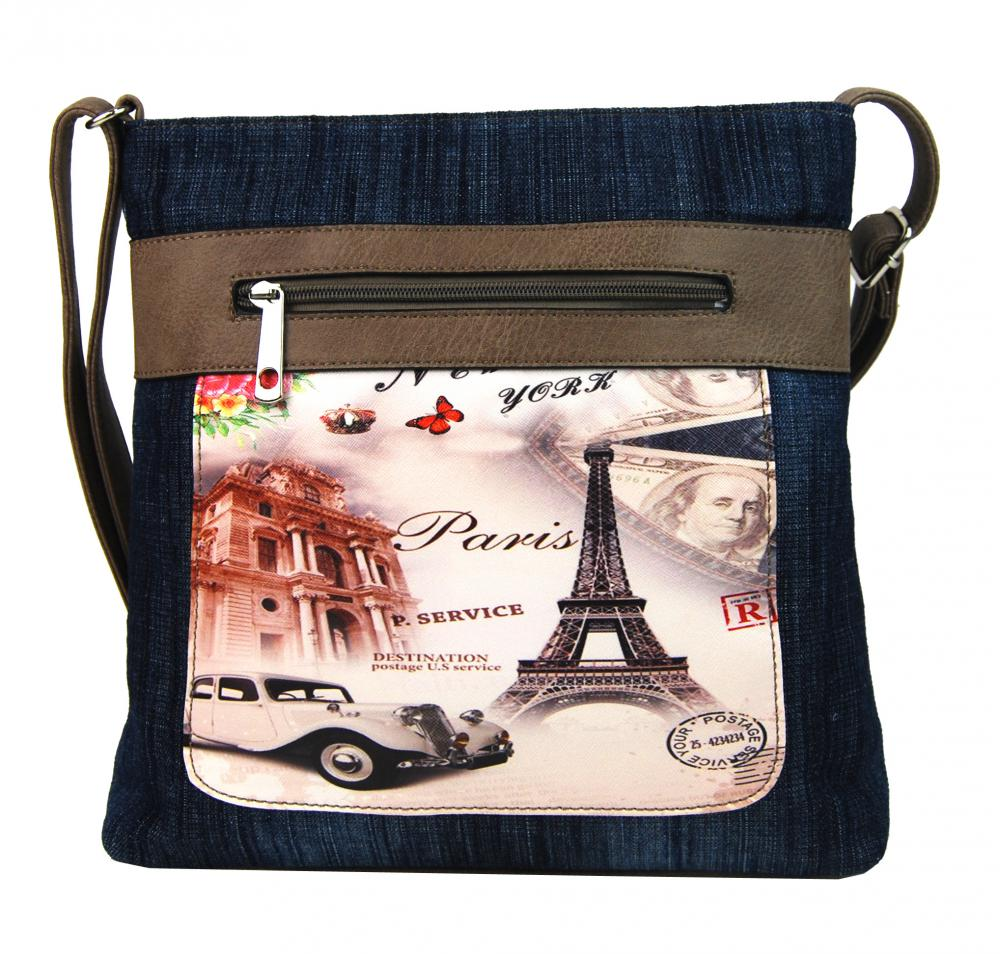 TAPPLE Dámská kabelka crossbody z modré džínoviny