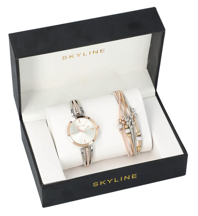 SKYLINE dámska darčeková sada strieborno-ružové hodinky s náramkom 2950-17