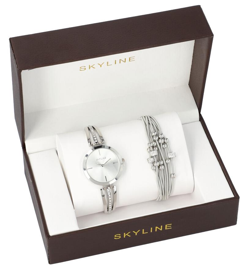 SKYLINE dámska darčeková sada strieborné hodinky s náramkom 2950-18