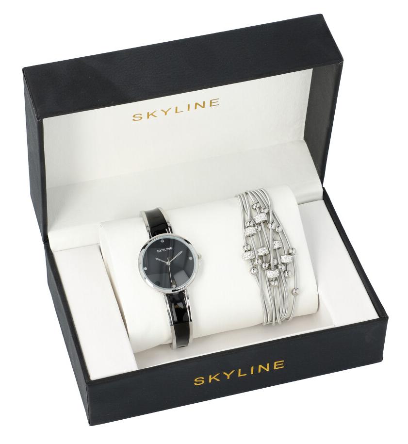SKYLINE dámska darčeková sada čierno-strieborné hodinky s náramkom 2950-32