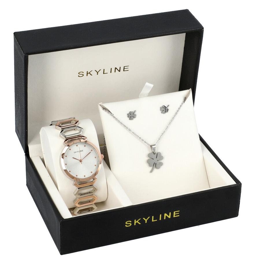 SKYLINE dámska darčeková sada strieborno-ružové hodinky s náhrdelníkom a náušnicami 8333